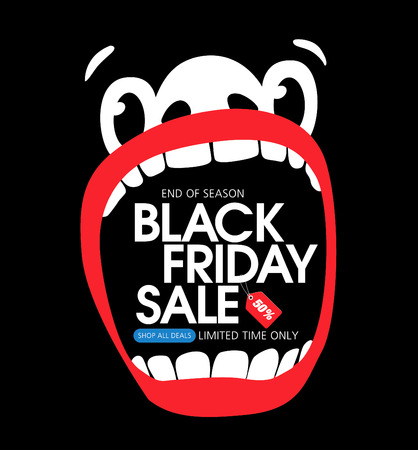 large mouth: Black friday sale. A large face with an open mouth