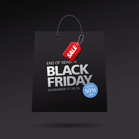 tally: Black friday sale. Vector package Illustration