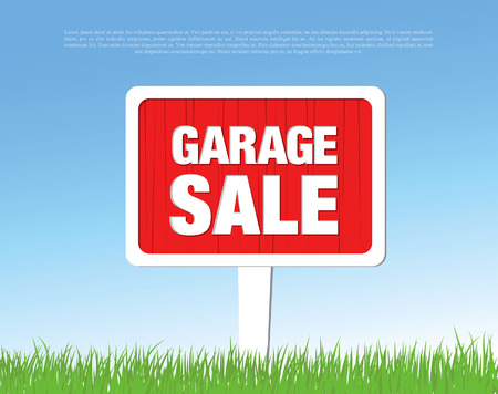 yard sale: garage sale board Illustration