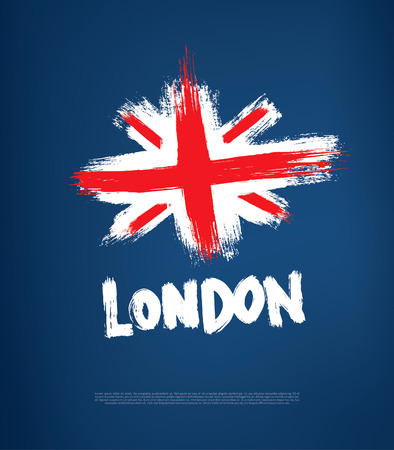 london night: grunge great britain flag