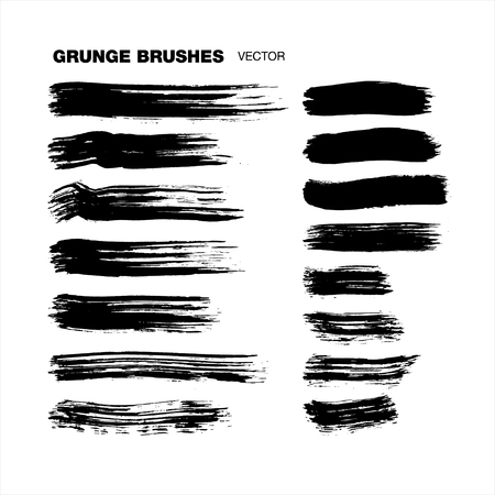 strokes: grunge brush strokes set Illustration