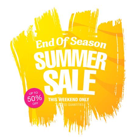 end of summer: End of Season. Summer sale. Vector template banner