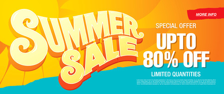 hot summer: summer sale template banner Illustration