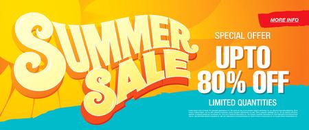 hot background: summer sale template banner Illustration