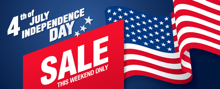 Fourth of July. Independence day sale banner template design Illustration