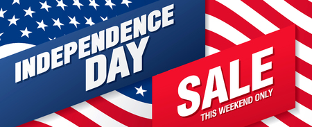 Fourth of July. Independence day sale banner template design 向量圖像