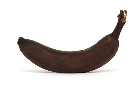 frowzy: One overripe banana isolated on white background