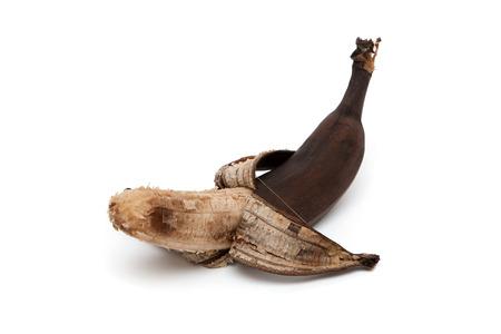 addle: One purified overripe banana isolated on white background