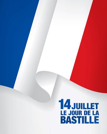 14th: France. French translation of the inscription: 14 th of July. Bastille Day. Illustration