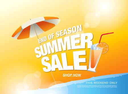夏季销售横幅。矢量图