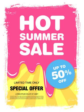 melting ice: Hot summer sale. Melting ice cream Illustration