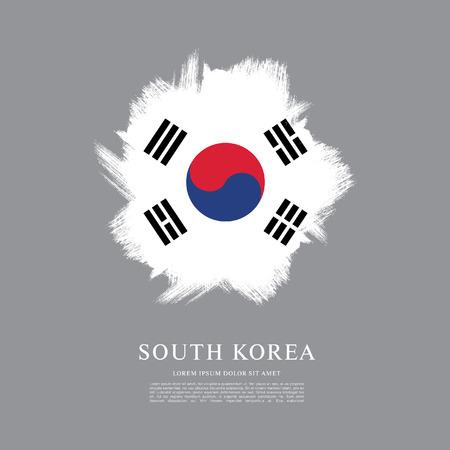 ブラシ ストロークのバック グラウンドで行われた韓国の旗