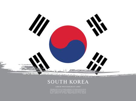 브러시 스트로크 배경에서 만든 한국의 국기