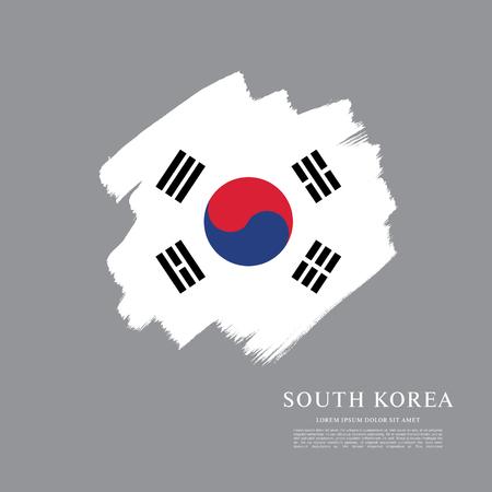 politicians: South Korean flag made in brush stroke background Illustration