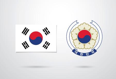 korean national: Flag of South Korea and Emblem of South Korea