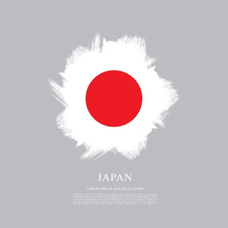 Vlag van Japan in penseelstreek achtergrond