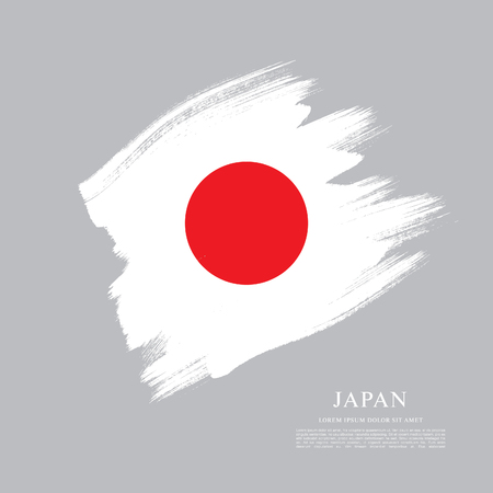Flag of Japan made in brush stroke background Illusztráció