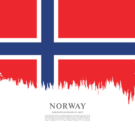 norway flag: Norway flag made in brush stroke background