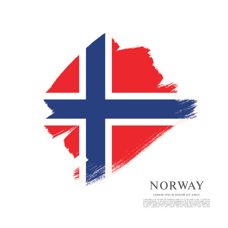 norway: Norway flag made in brush stroke background