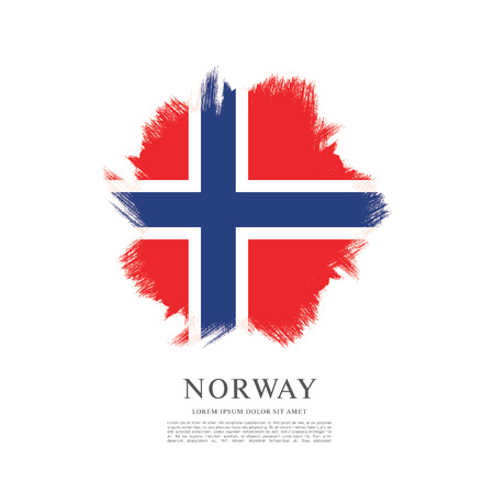 Norway flag made in brush stroke background