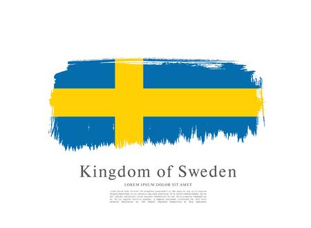sweden: Sweden flag. Brush stroke background Illustration