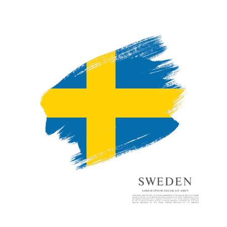 Sweden flag. Brush stroke background Illustration