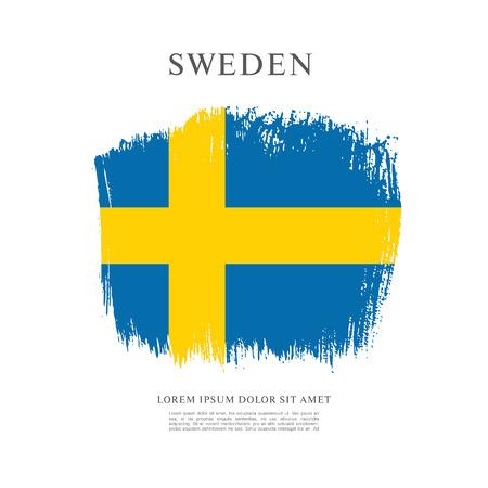bandera suecia: bandera de Suecia. Pincel de fondo derrame cerebral Vectores