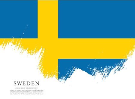 bandera de suecia: bandera de Suecia. Pincel de fondo derrame cerebral Vectores