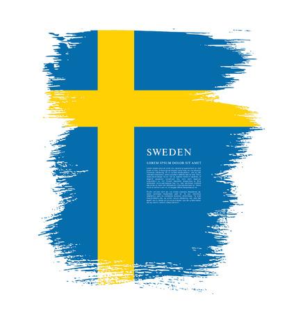 sweden flag: Sweden flag. Brush stroke background Illustration