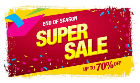 Super sale banner. Sale poster Illustration