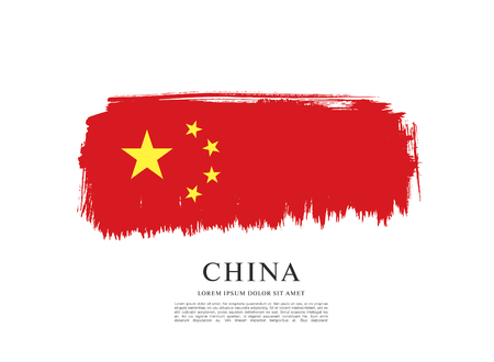 made in china: Flag of Peoples Republic of China. Abstract vector brush stroke background. Illustration