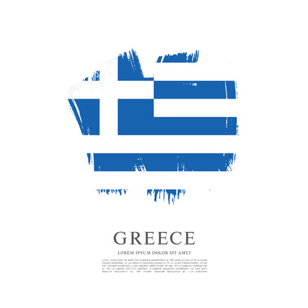 Flag of Greece. Brush stroke background