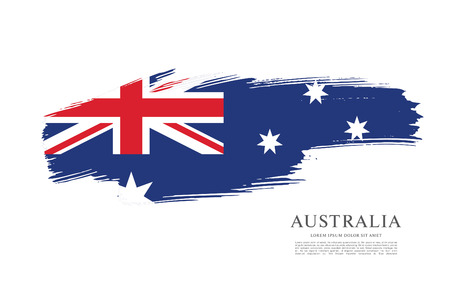Flag of Australia. Brush stroke background