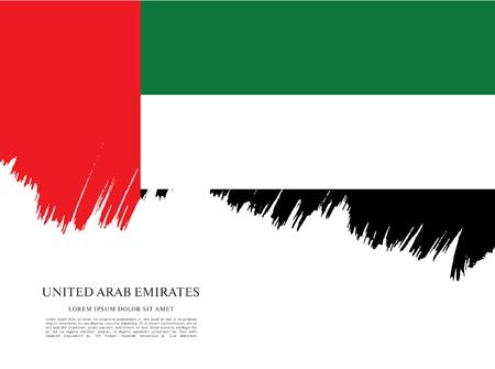 emirates: Flag of United Arab Emirates. UAE flag. Brush stroke background