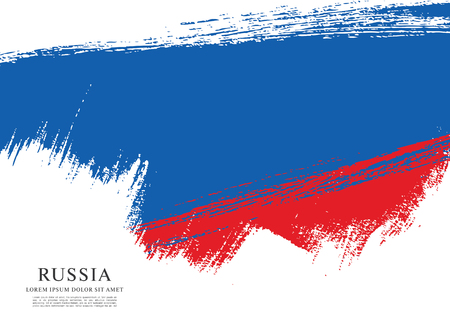 russian flag: Flag of Russia. Russian flag. Brush stroke background