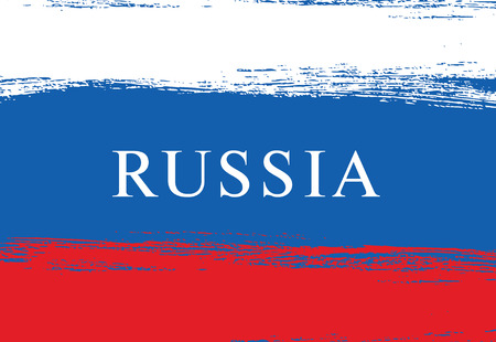 russian  russia: Flag of Russia. Russian flag. Brush stroke background