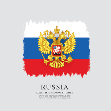 federation: Flag of Russia. Russian flag. Coat of Arms. Brush stroke background Illustration