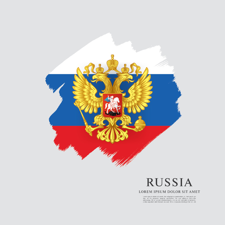 Vlag van Rusland. Russische vlag. Wapen. Penseelstreek achtergrond