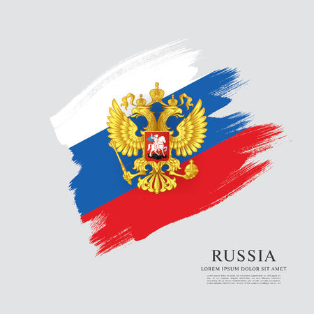 Flag of Russia. Russian flag. Coat of Arms. Brush stroke background Illustration