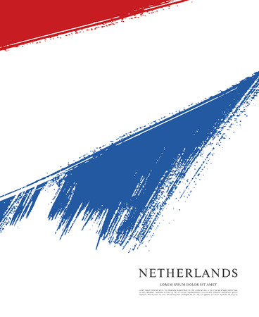 Flag of Netherlands. Dutch flag. Brush stroke background Illustration
