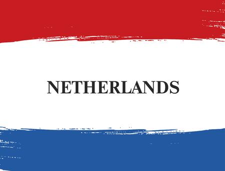 dutch: Flag of Netherlands. Dutch flag. Brush stroke background Illustration