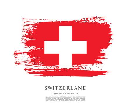 Flag of Switzerland. Brush stroke background