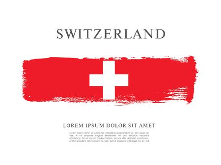 Flag of Switzerland. Brush stroke background 矢量图像