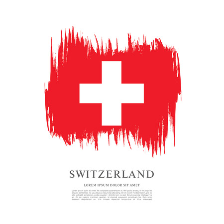 politicians: Flag of Switzerland. Brush stroke background Illustration