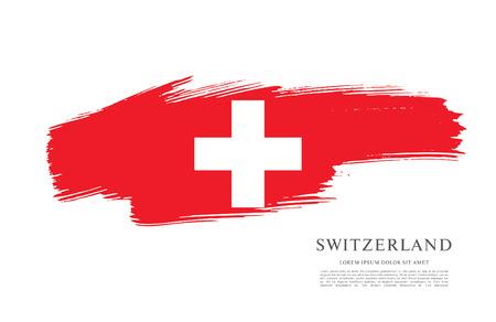Vlag van Zwitserland. Penseelstreek achtergrond Vector Illustratie