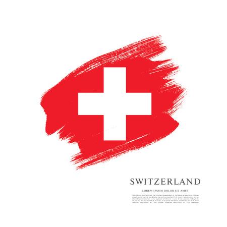 スイス連邦共和国の旗。ブラシ ストロークの背景  イラスト・ベクター素材