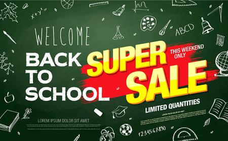 Back to school sale banner Illustration