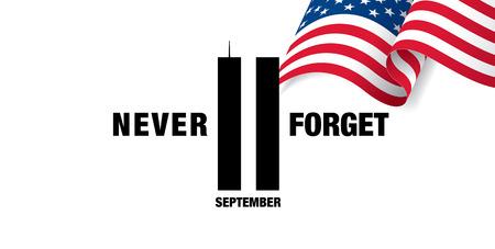 애국의 날. 9 월 11 일 우리는 결코 잊지 않을 것 일러스트