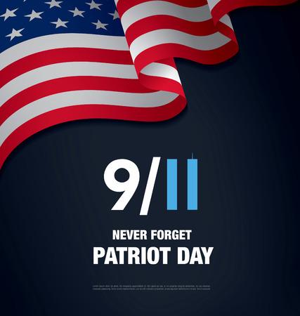 Patriot Day. Wrzesień 11. Nigdy nie zapomnę Ilustracje wektorowe