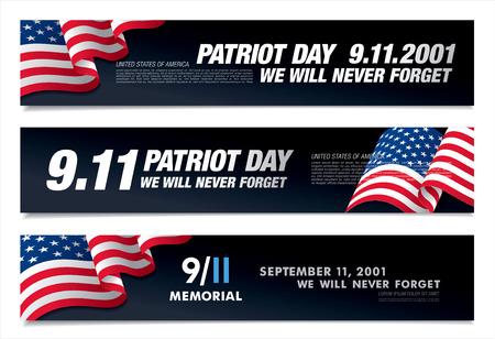 Patriot Day. September 11. We will never forget Illustration